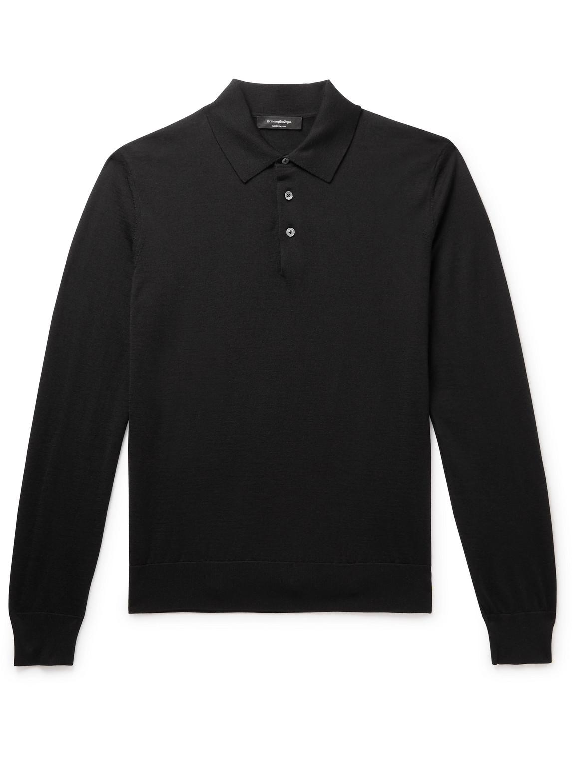 Ermenegildo Zegna Mens Black Long-sleeved Cashmere And Silk-blend Polo Shirt 48
