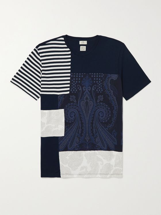 ETRO Patchwork Printed Cotton-Jersey T-Shirt