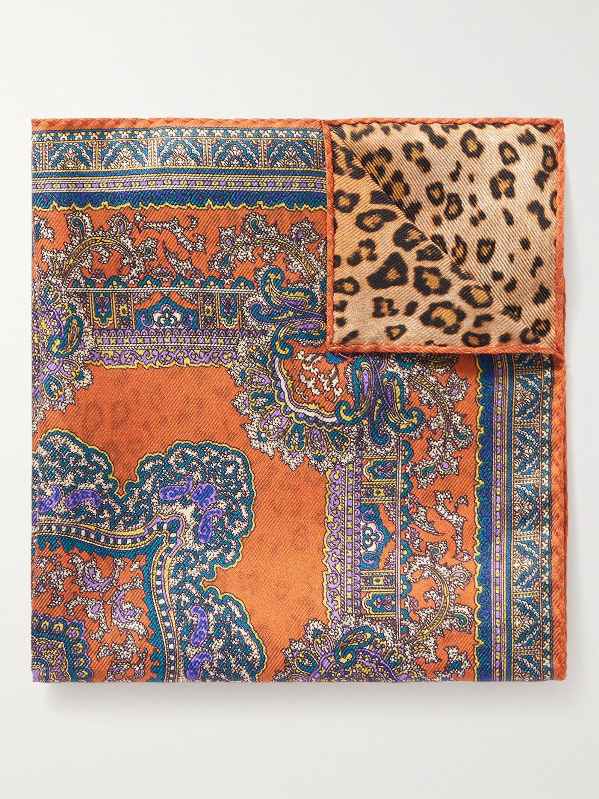 에트로 포켓 스퀘어 ETRO Printed Silk-Twill Pocket Square,Multi
