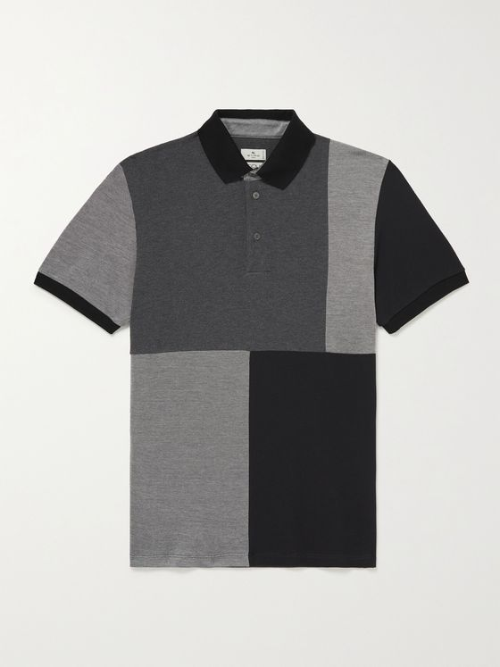 ETRO Patchwork Cotton-Piqué Polo Shirt