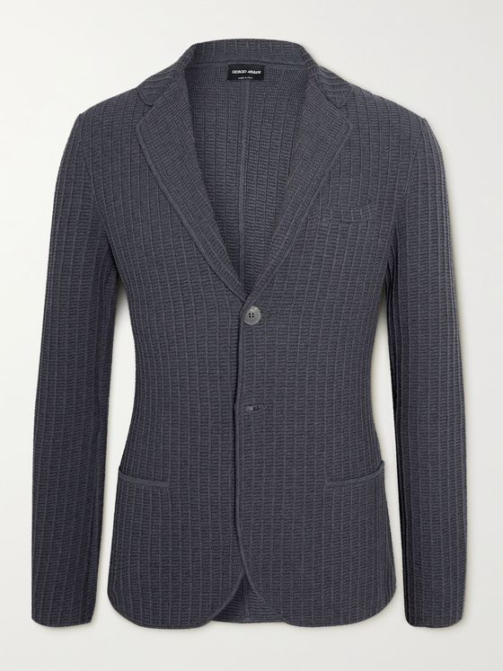 GIORGIO ARMANI Ribbed Cotton and Wool-Blend Blazer