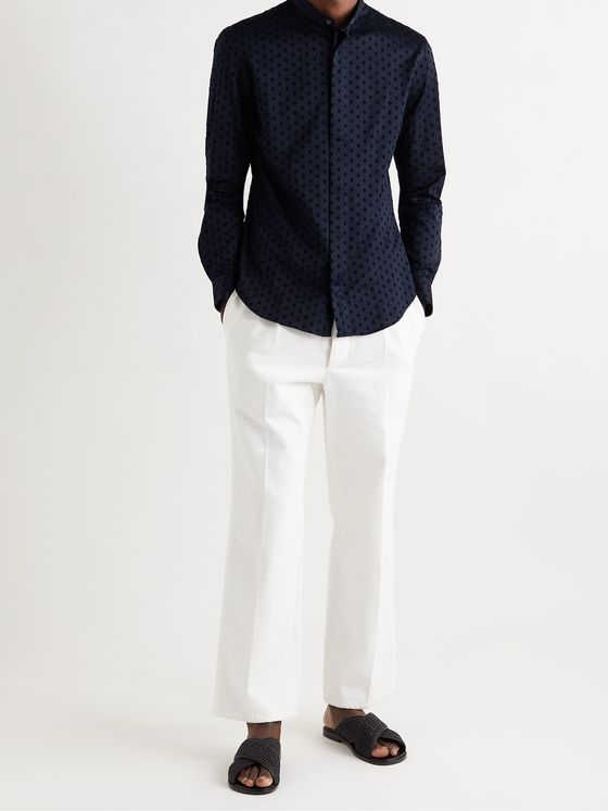 GIORGIO ARMANI Grandad-Collar Flocked Cotton-Sateen Shirt