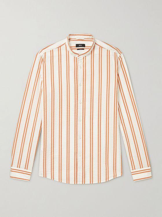 HUGO BOSS Jordi Slim-Fit Grandad-Collar Striped Cotton-Seersucker Shirt