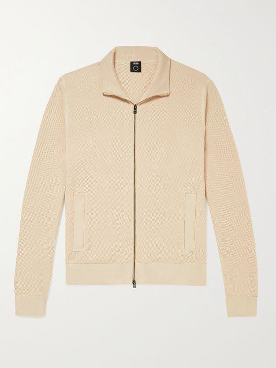 HUGO BOSS Birdseye Cotton Zip-Up Sweater