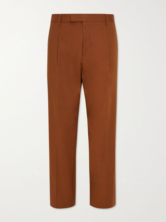 HUGO BOSS Pris Pleated Stretch-Cotton Suit Trousers