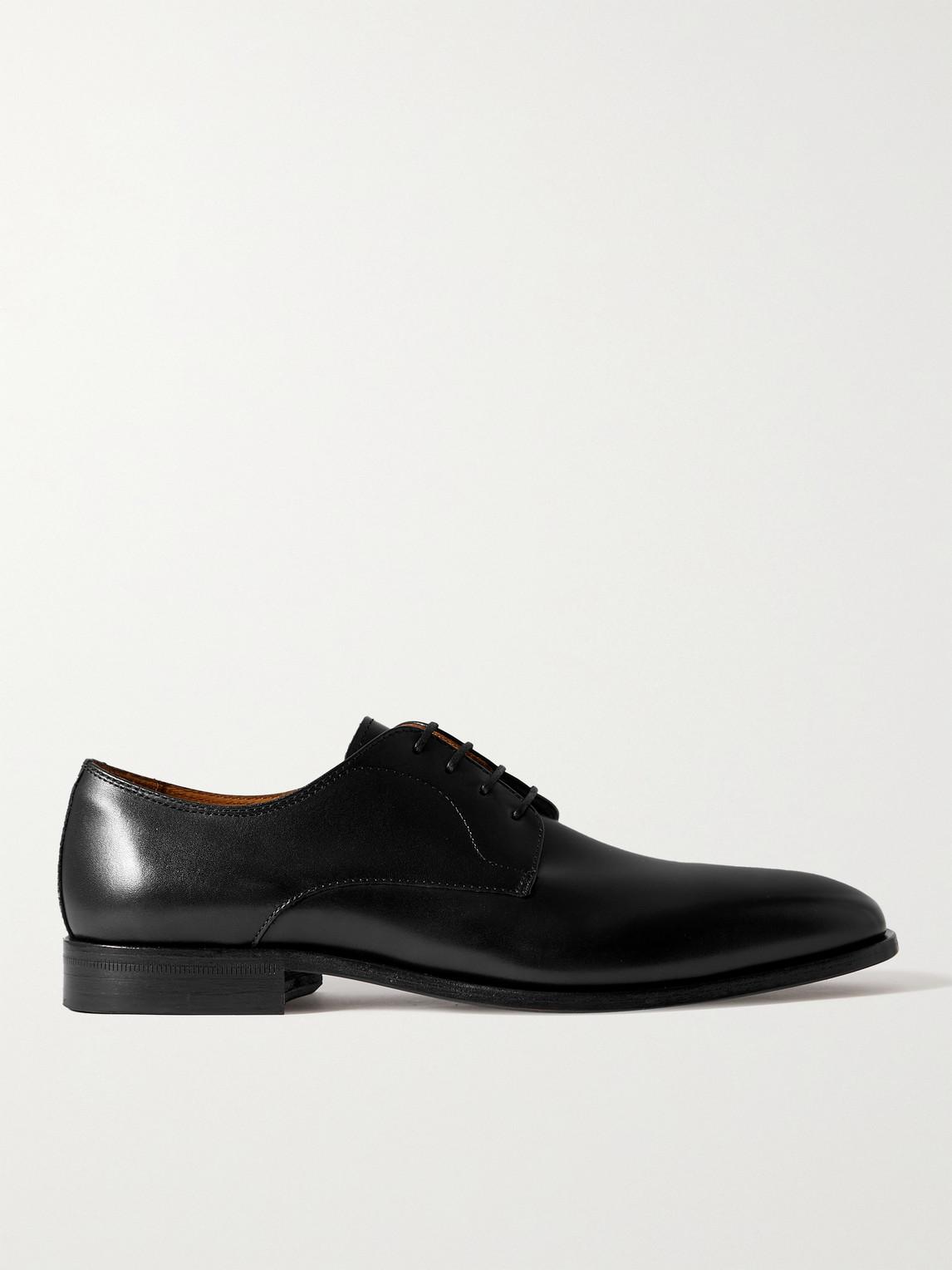 Hugo Boss Lisbon Leather Derby Shoes In Black