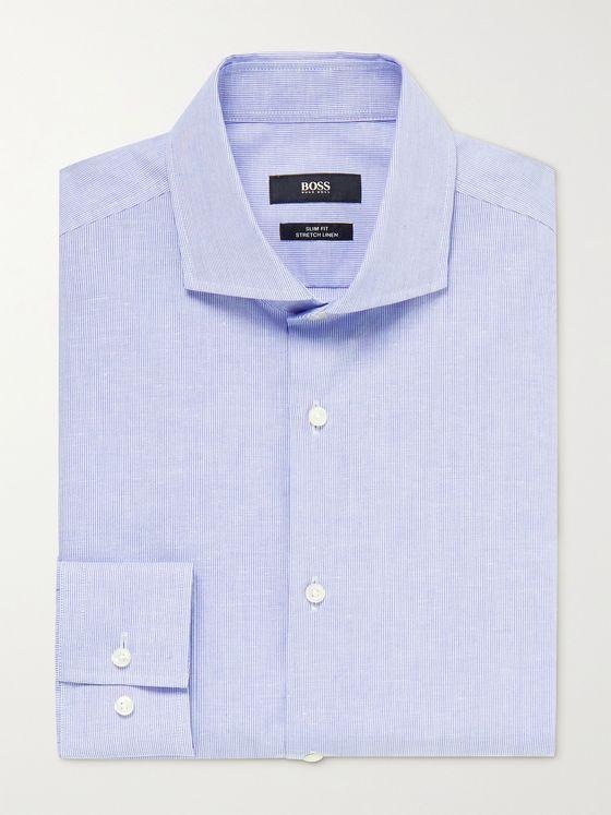 HUGO BOSS Jason Cutaway-Collar Pinstriped Cotton and Linen-Blend Shirt