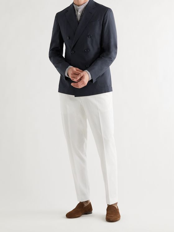 HUGO BOSS Double-Breasted Cotton-Blend Suit Jacket