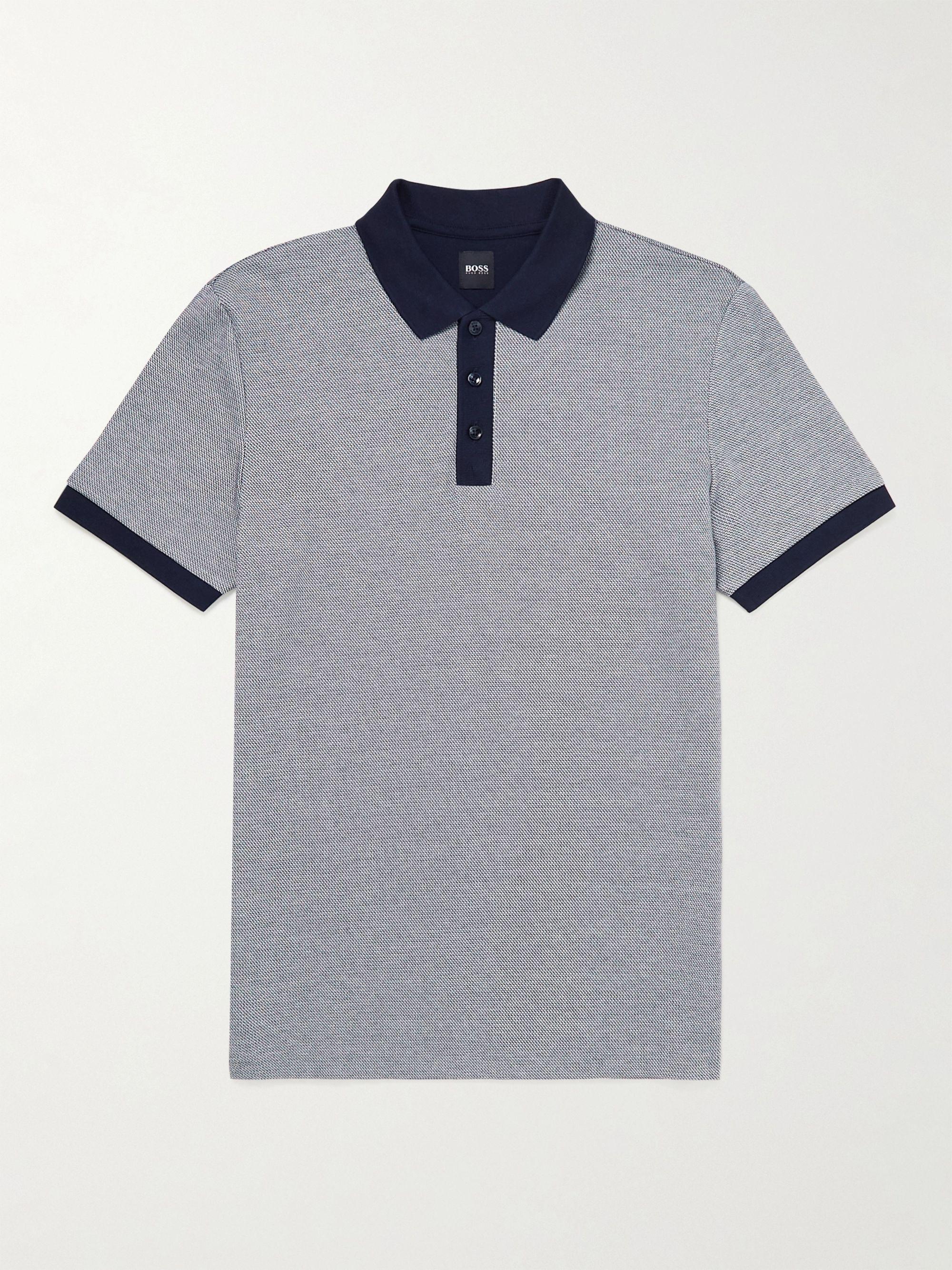 HUGO BOSS Two-Tone Cotton-Pique Polo Shirt