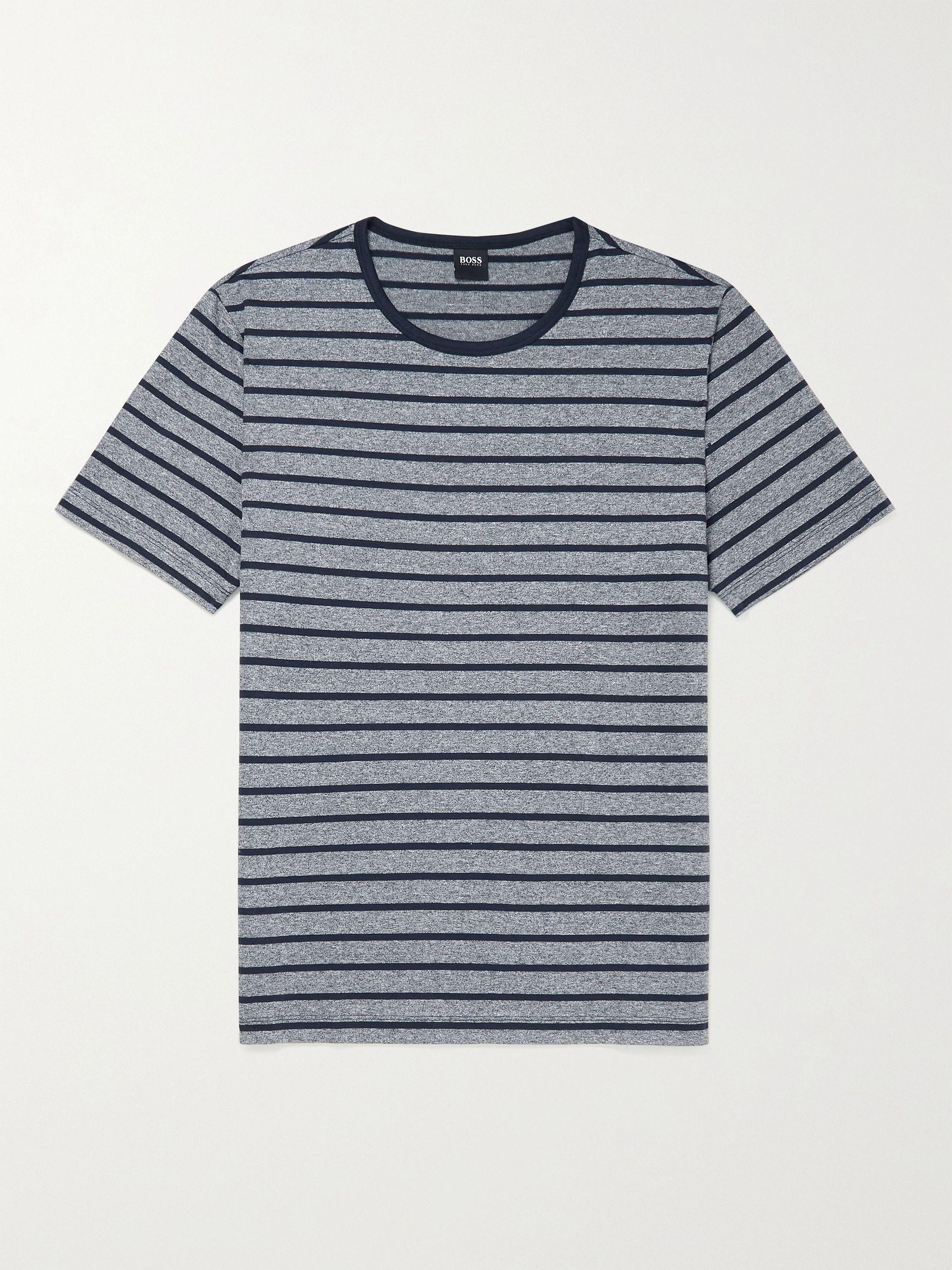 HUGO BOSS Striped Melange Cotton and Linen-Blend Jersey T-Shirt