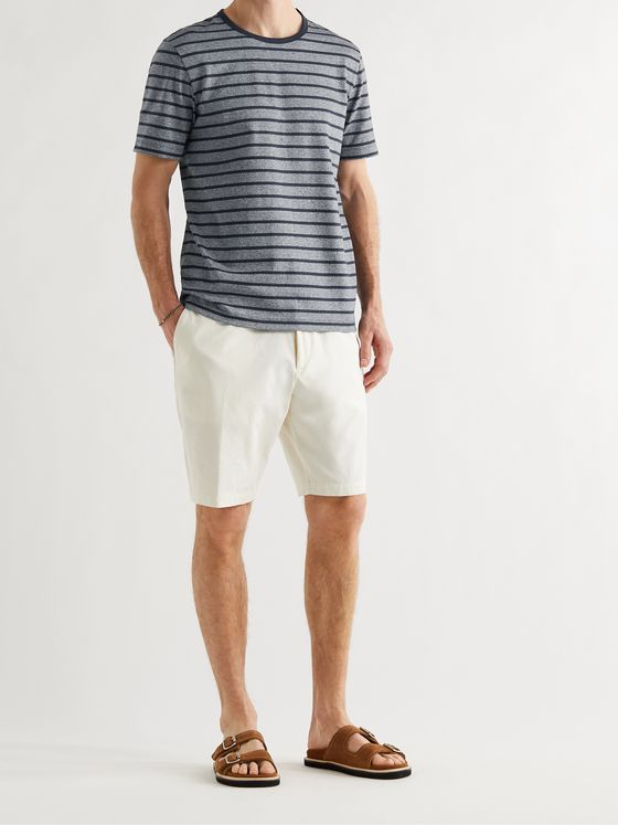 HUGO BOSS Striped Mélange Cotton and Linen-Blend Jersey T-Shirt