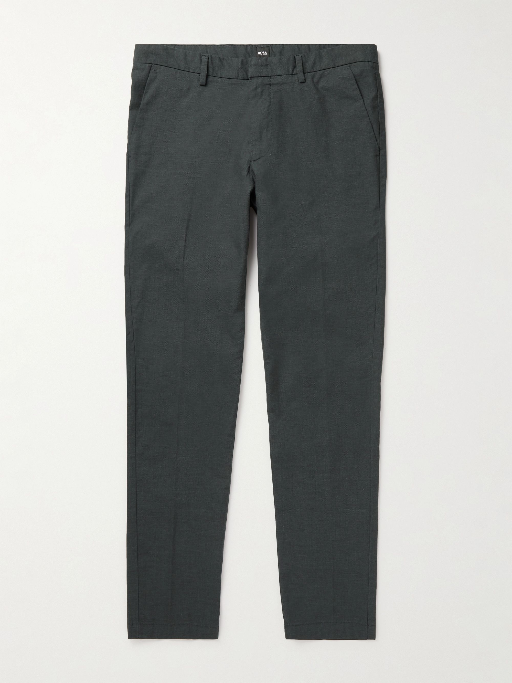 HUGO BOSS Slim-Fit Tapered Cotton-Blend Twill Trousers