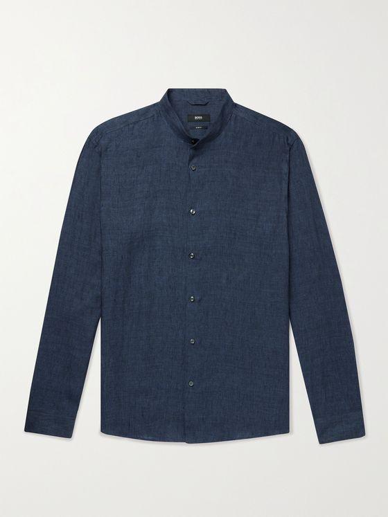 HUGO BOSS Jordi Grandad-Collar Linen Shirt