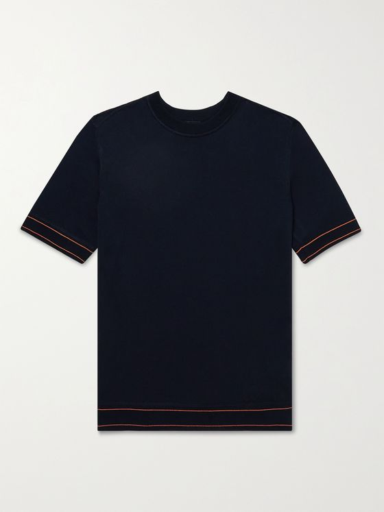 HUGO BOSS Contrast-Tipped Knitted Cotton T-Shirt
