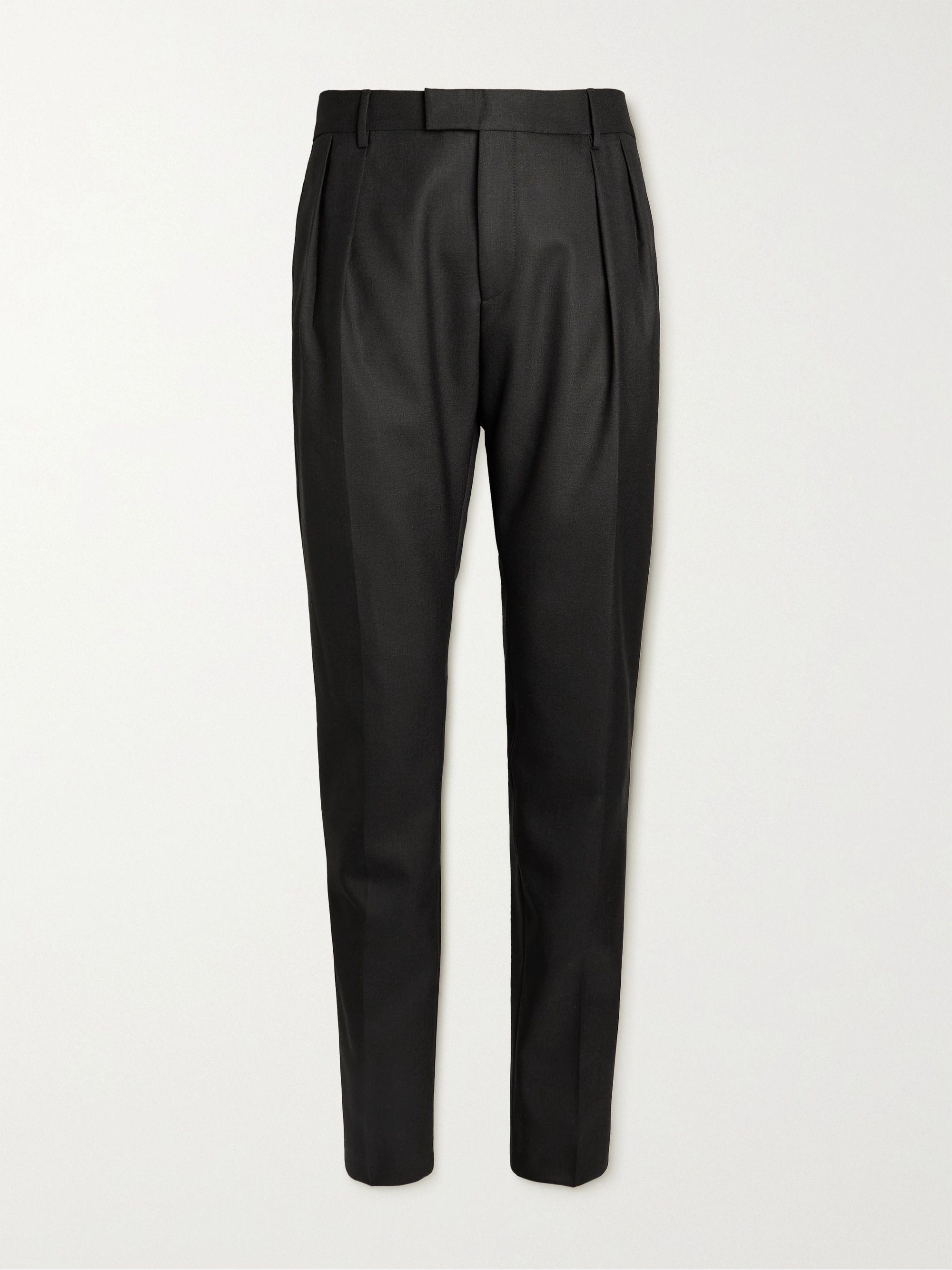 HUGO BOSS Francis Slim-Fit Pleated Virgin Wool Trousers