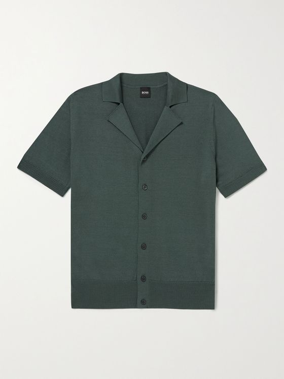 HUGO BOSS Camp-Collar Mercerised Cotton Shirt