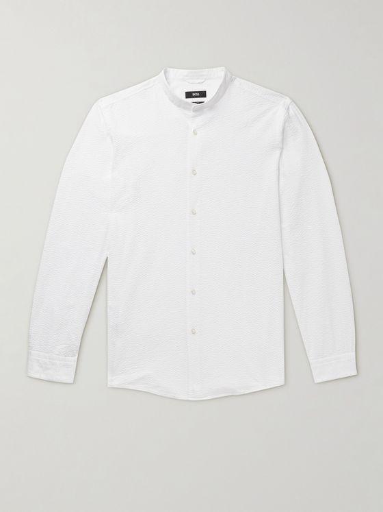 HUGO BOSS Jordi Grandad-Collar Cotton-Seersucker Shirt