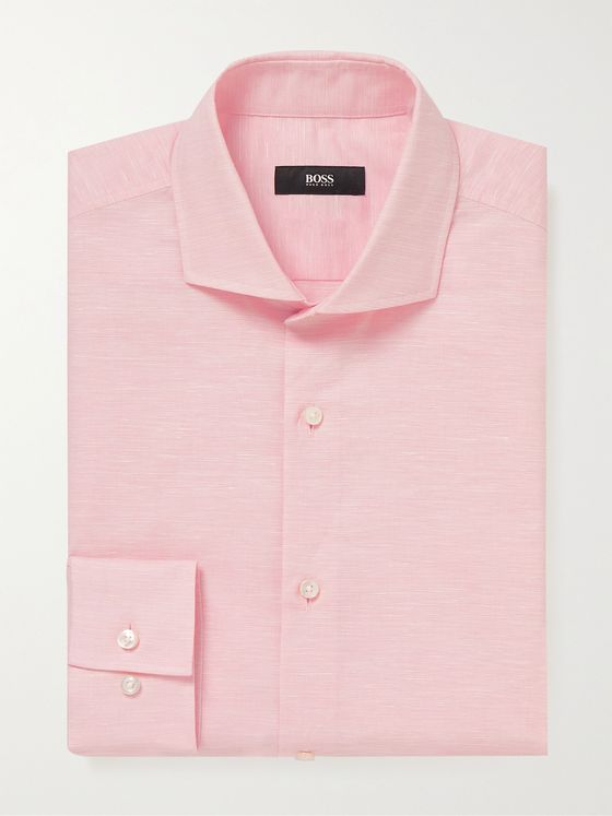 HUGO BOSS Jason Slim-Fit Cutaway-Collar Cotton and Hemp-Blend Shirt