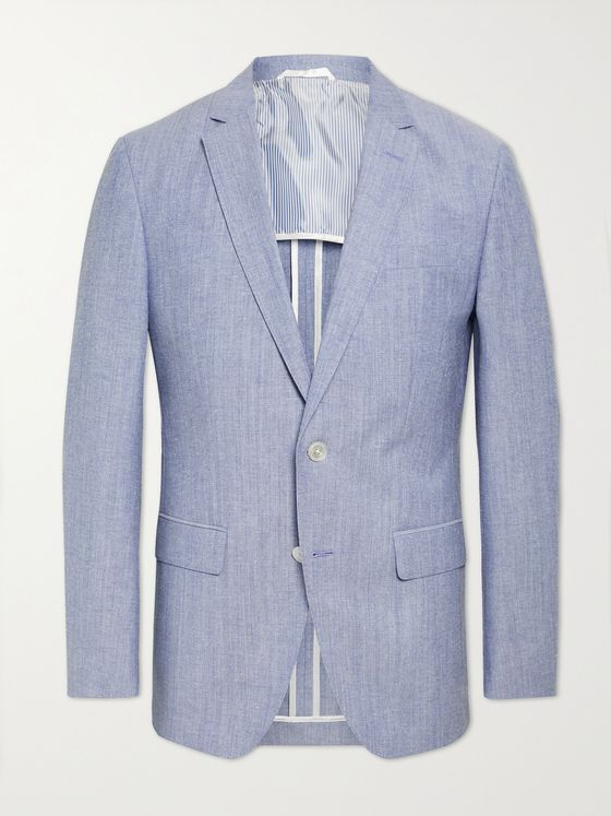 HUGO BOSS Hartlay2 Slim-Fit Mélange Cotton and Virgin Wool-Blend Suit Jacket