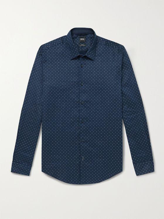 HUGO BOSS Slim-Fit Polka-Dot Linen-Blend Shirt