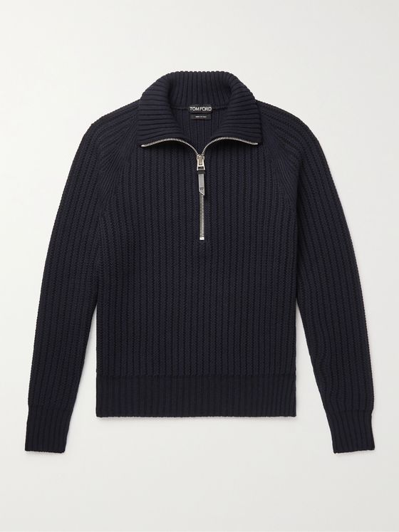 TOM FORD Slim-Fit Ribbed Cashmere and Wool-Blend Half-Zip Sweater