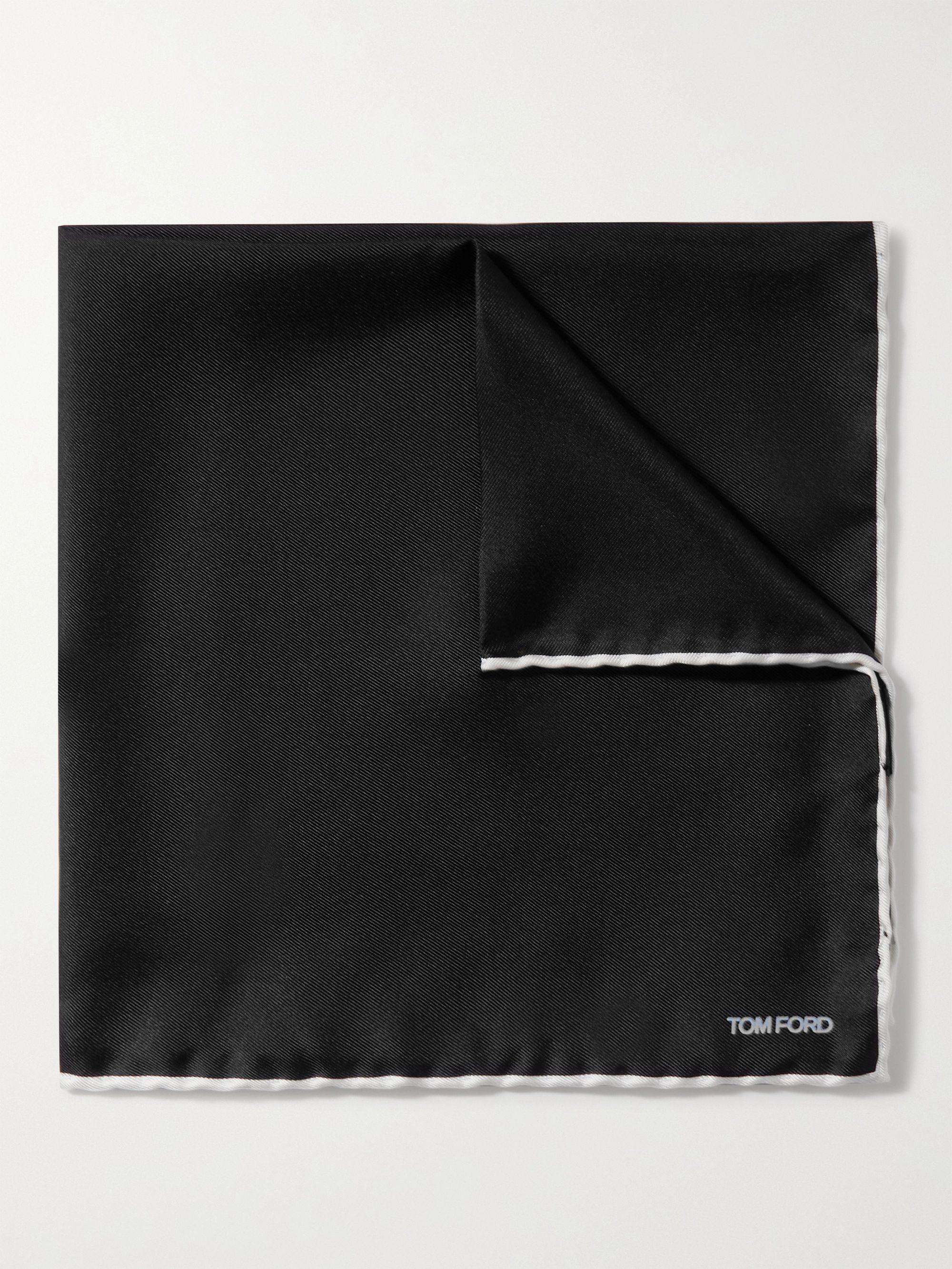 톰 포드 포켓 스퀘어 Tom Ford Contrast-Tipped Silk-Twill Pocket Square,Black