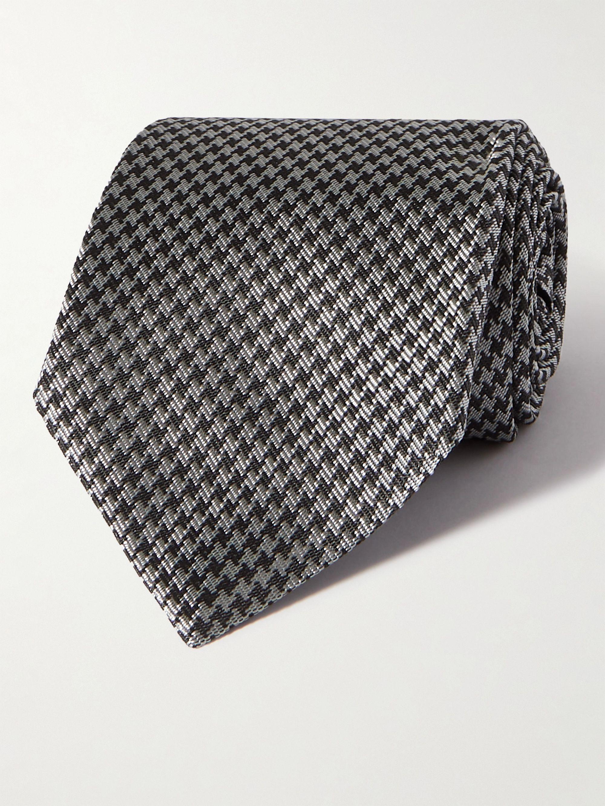 톰 포드 넥타이 Tom Ford 8cm Houndstooth Silk-Blend Jacquard Tie,Dark gray