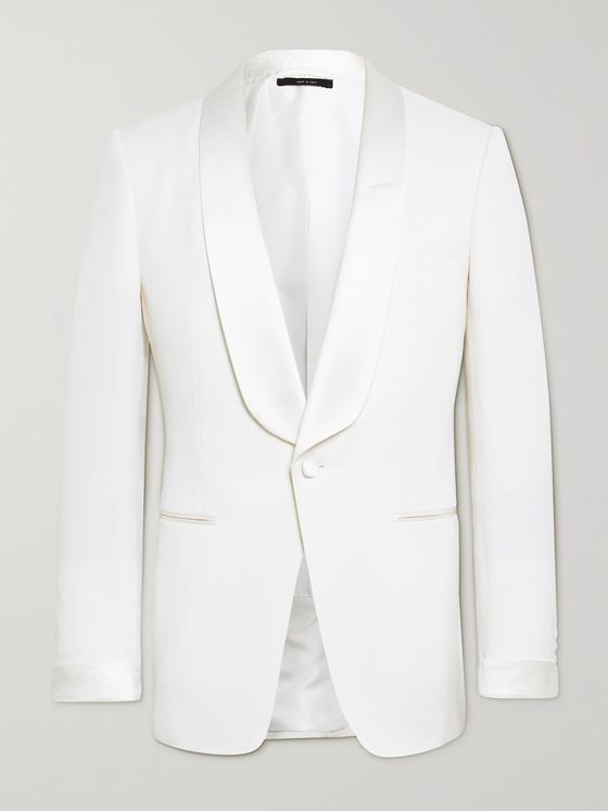TOM FORD O'Connor Slim-Fit Satin-Trimmed Wool and Mohair-Blend Tuxedo Jacket