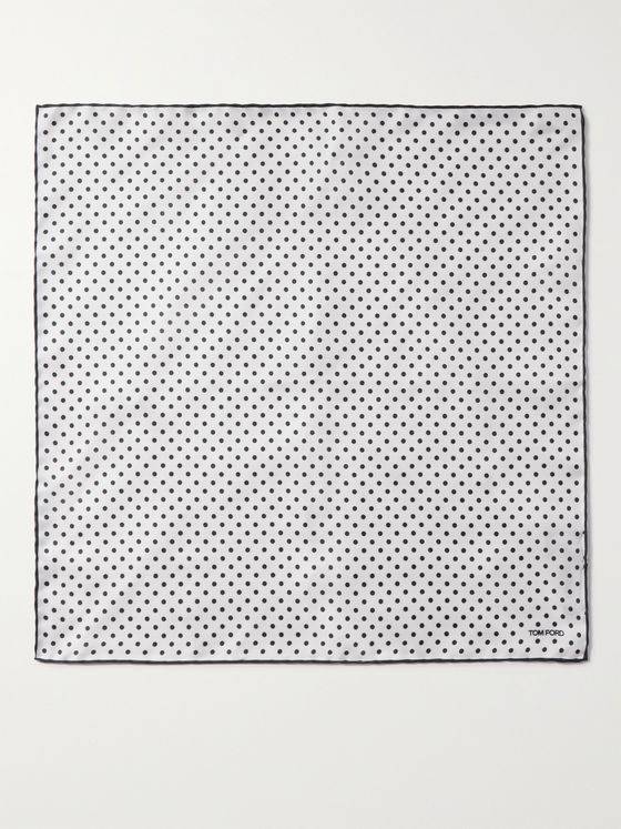 TOM FORD Contrast-Tipped Polka-Dot Silk-Twill Pocket Square