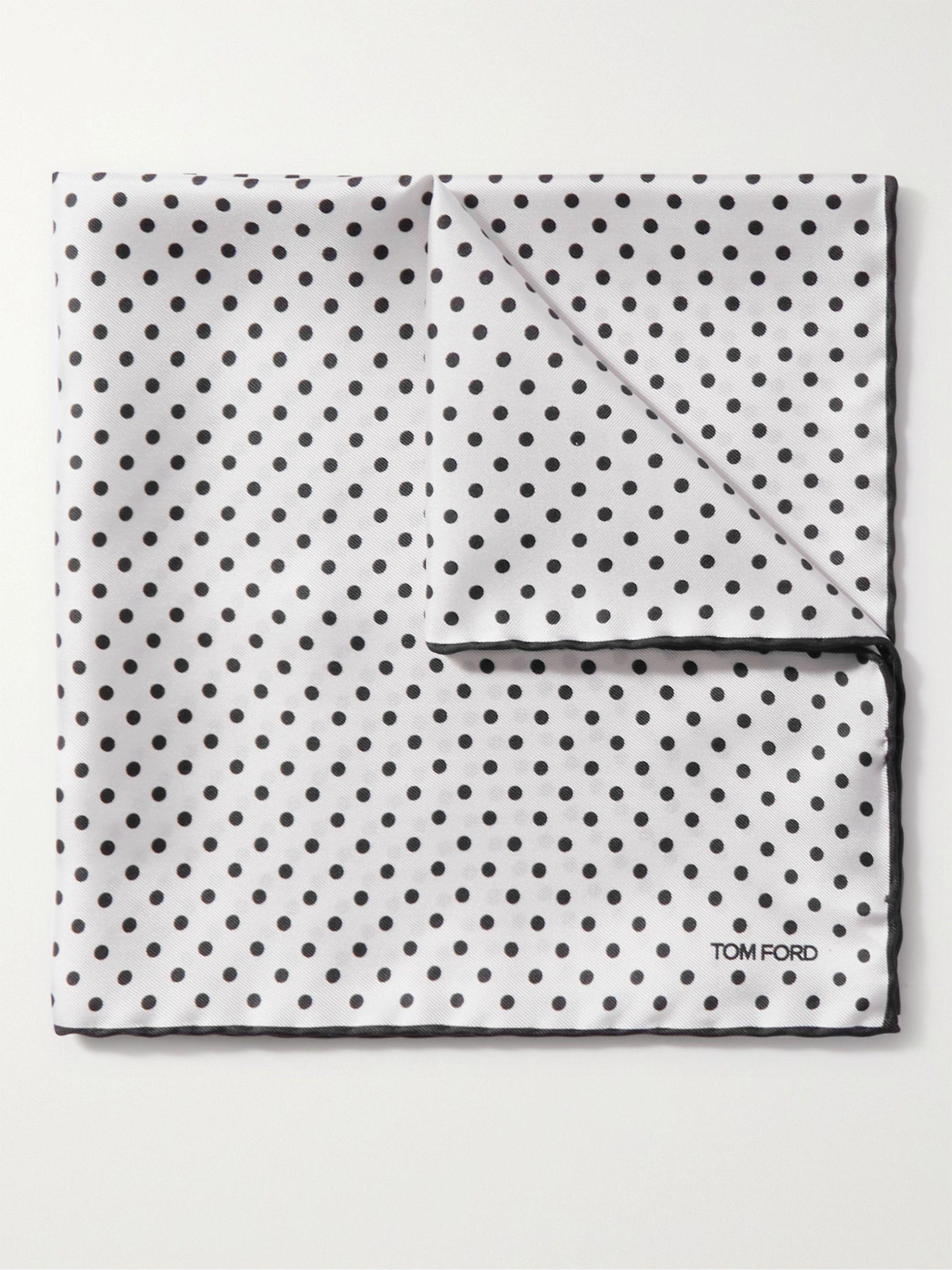 톰 포드 포켓 스퀘어 Tom Ford Contrast-Tipped Polka-Dot Silk-Twill Pocket Square,White