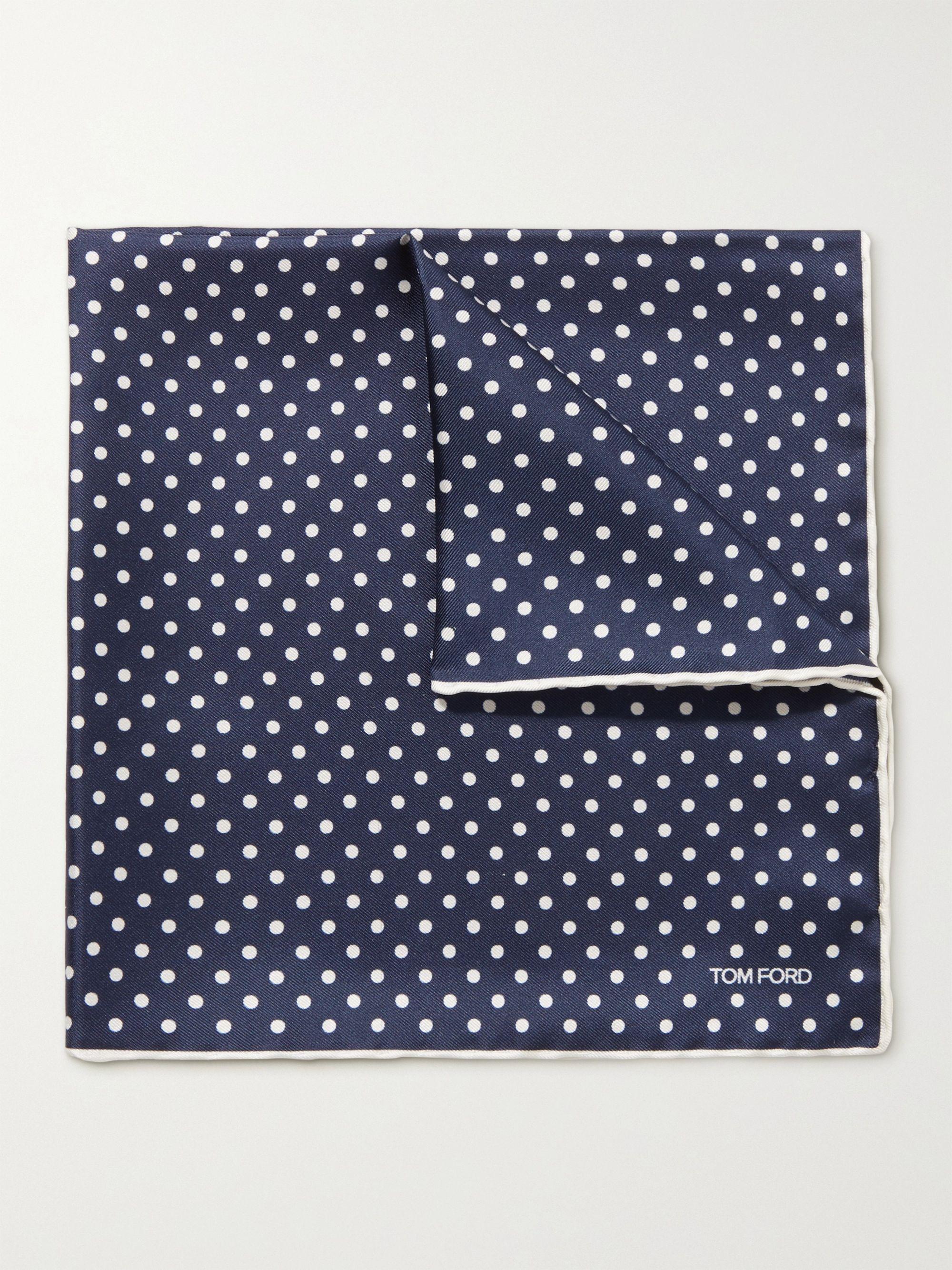 톰 포드 포켓 스퀘어 Tom Ford Contrast-Tipped Polka-Dot Silk-Twill Pocket Square,Navy