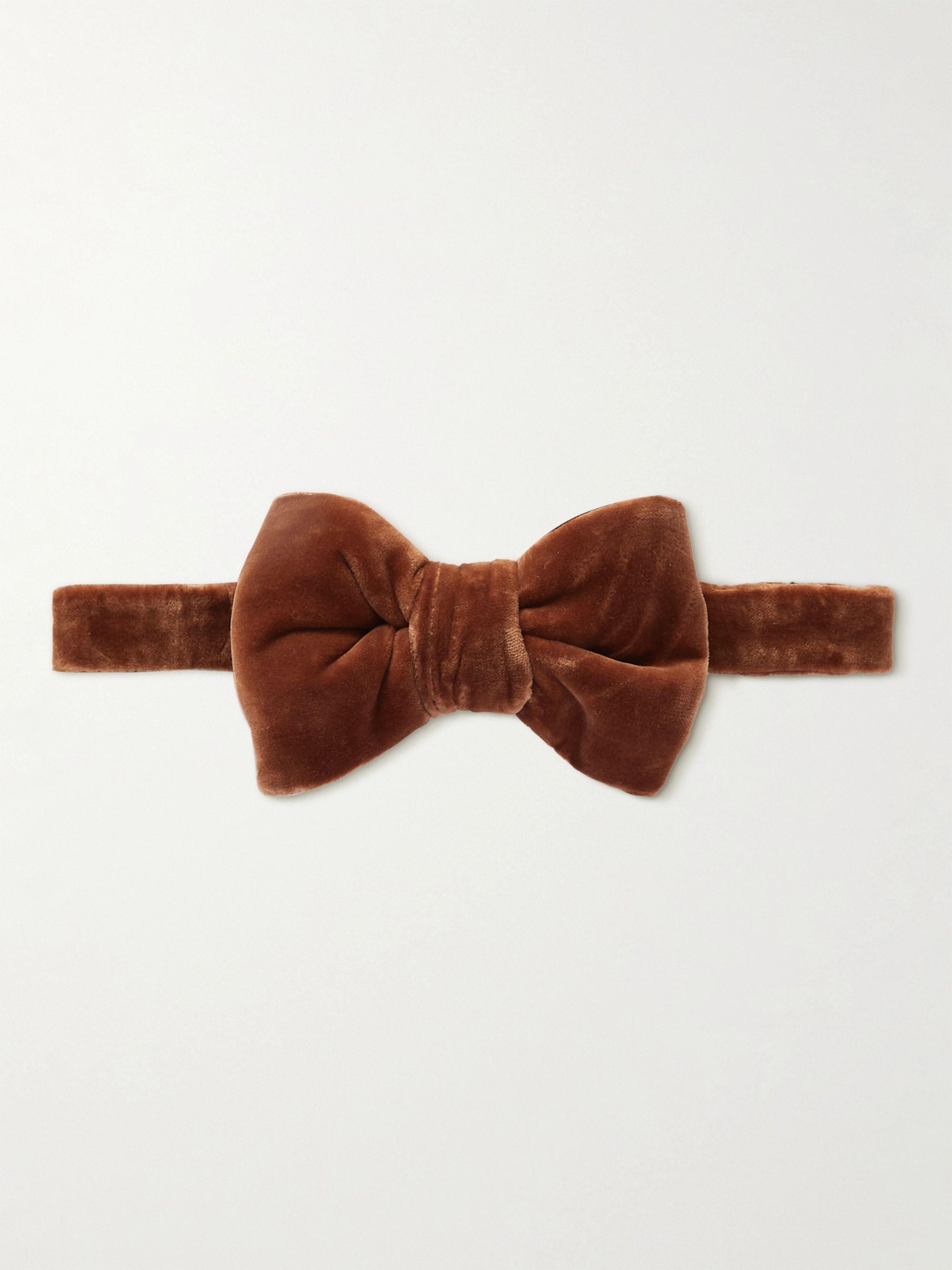 톰 포드 넥타이 Tom Ford Pre-Tied Cotton-Velvet Bow Tie,Brown