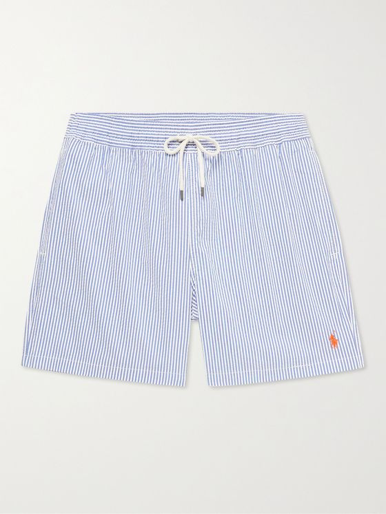 POLO RALPH LAUREN Mid-Length Striped Cotton-Blend Seersucker Swim Shorts