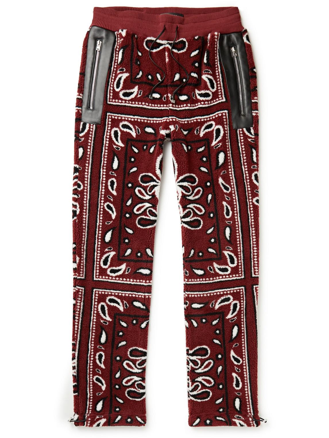 Straight-Leg Leather-Trimmed Bandana-Print Fleece Sweatpants