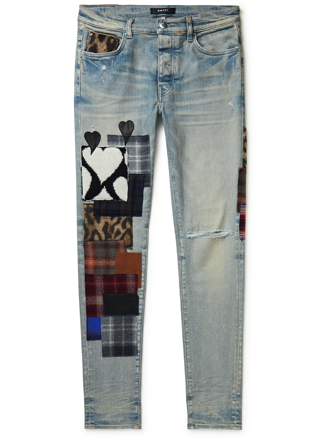 Artpatch Skinny-Fit Distressed Patchwork Jeans