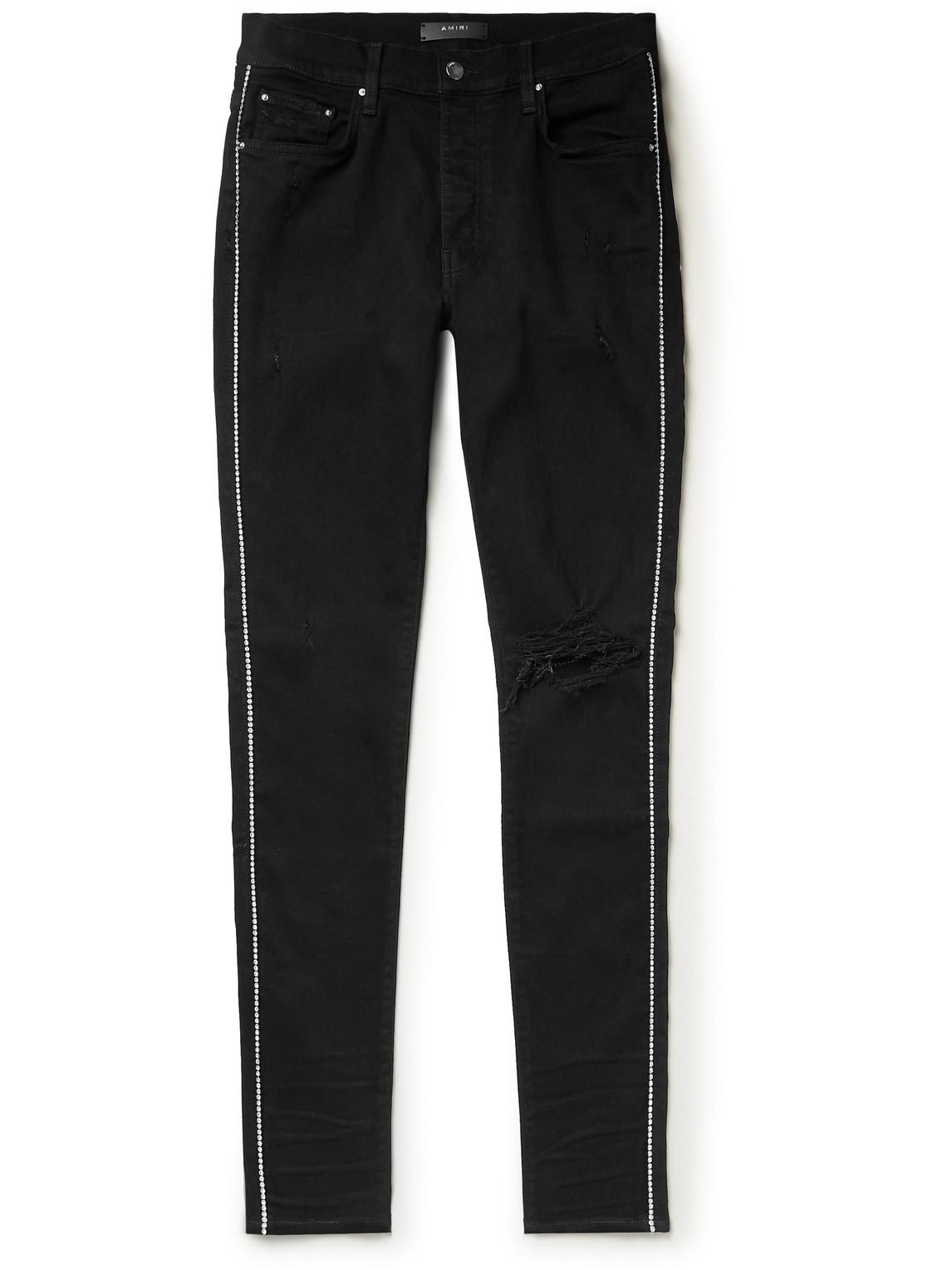 Skinny-Fit Distressed Crystal-Embellished Jeans