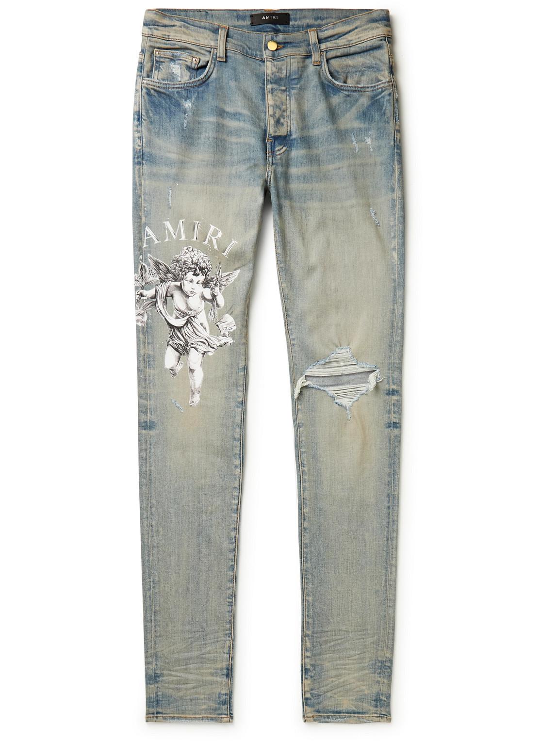 Cherub Skinny-Fit Distressed Printed Jeans