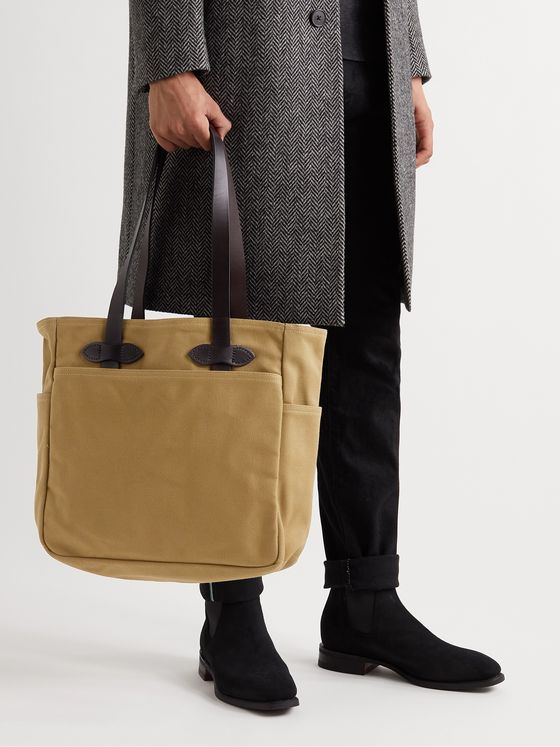 FILSON Leather Trimmed Cotton-Twill Tote