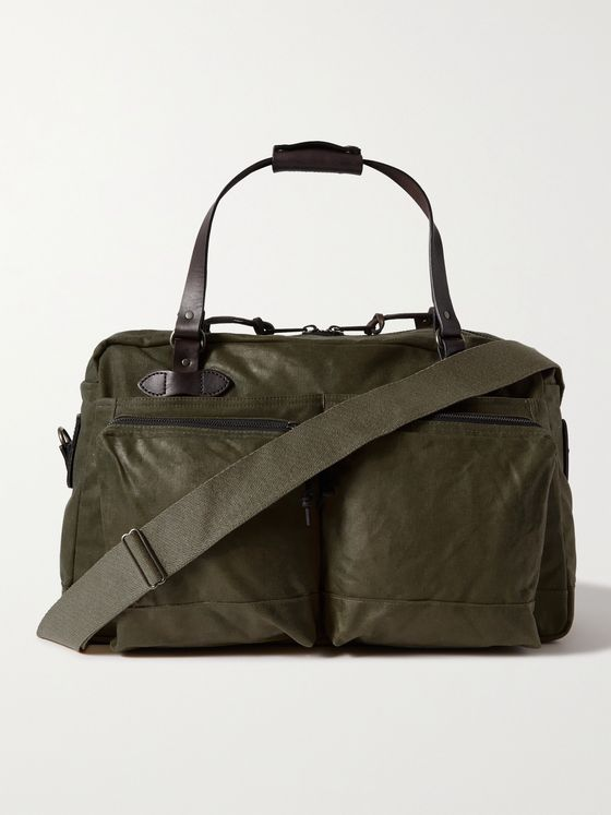 FILSON 48-Hour Leather-Trimmed Tin Cloth Duffle Bag