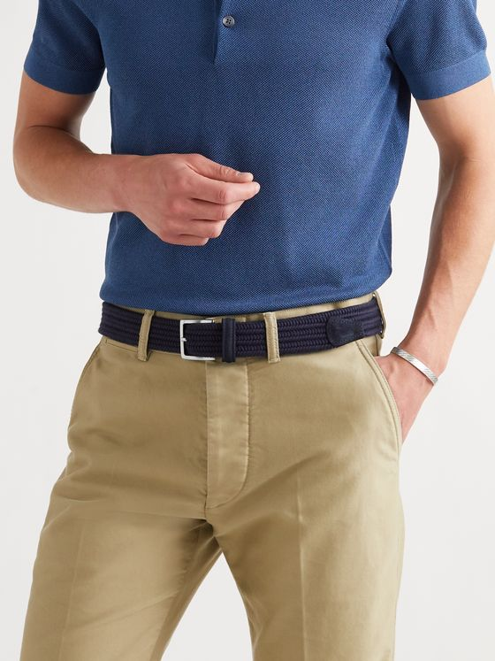ANDERSON'S 3.5cm Suede-Trimmed Woven Elastic Belt