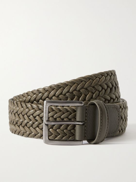 ANDERSON'S 3.5cm Leather-Trimmed Waxed-Cotton Woven Belt