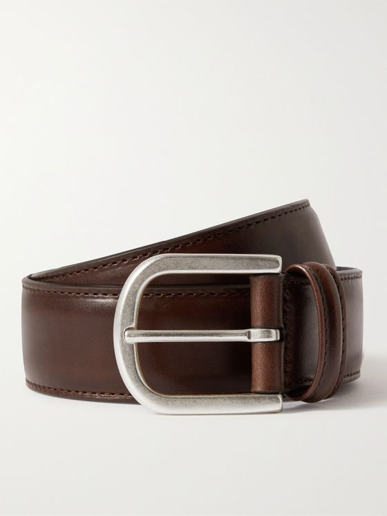 ANDERSON'S 3cm Burnished-Leather Belt