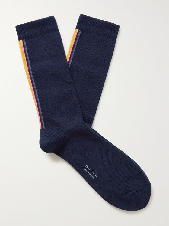 PAUL SMITH Striped Organic Cotton-Blend Socks