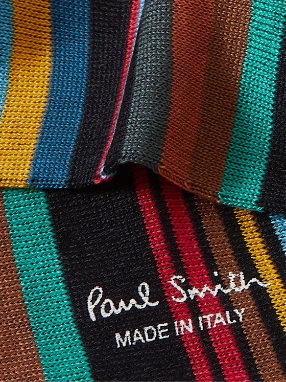 PAUL SMITH Stephen Striped Cotton-Blend Socks
