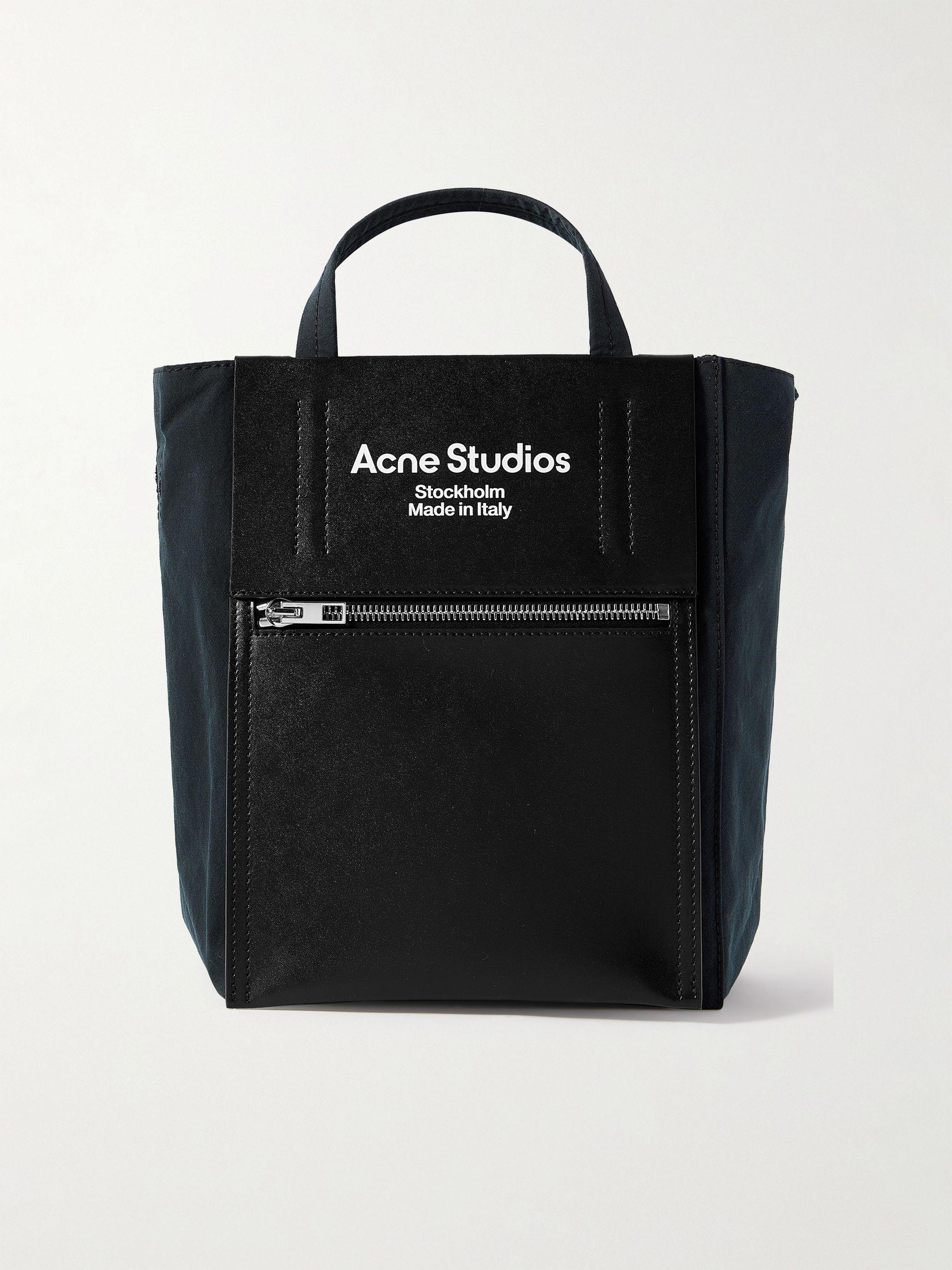 아크네 스튜디오 베이커 아웃 토트백 미니 Acne Studios Baker Out Mini Logo-Print Leather and Nylon Tote Bag,Black