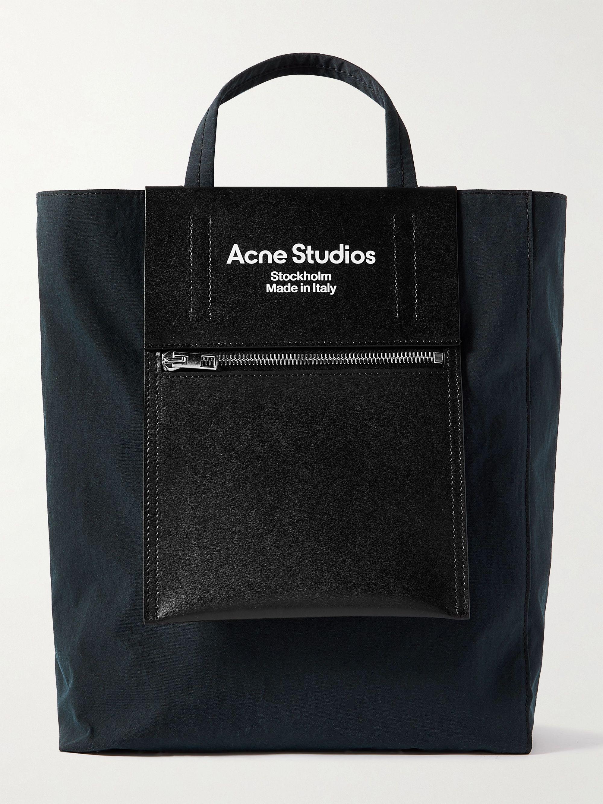 아크네 스튜디오 베이커 아웃 토트백 Acne Studios Baker Out Logo-Print Leather and Nylon Tote Bag,Black