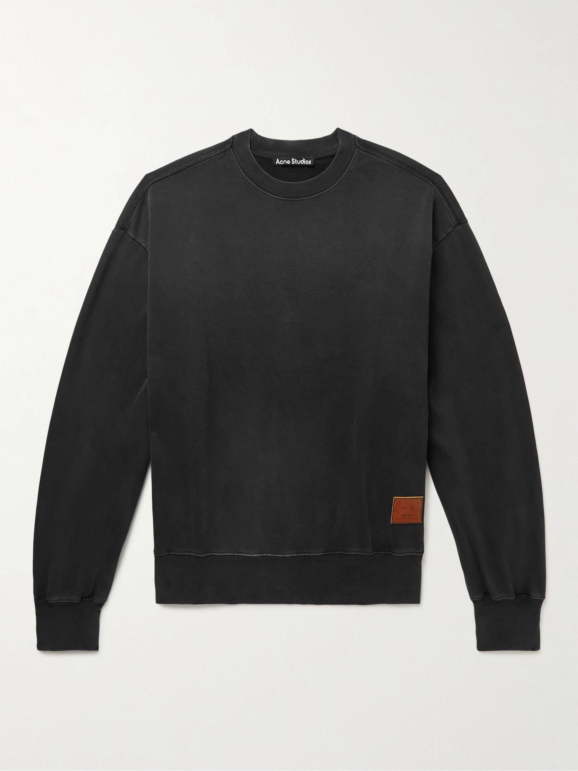 아크네 스튜디오 '페이스' 로고 맨투맨  Acne Studios Fiah Logo-Appliqued Printed Cotton-Jersey Sweatshirt,Black