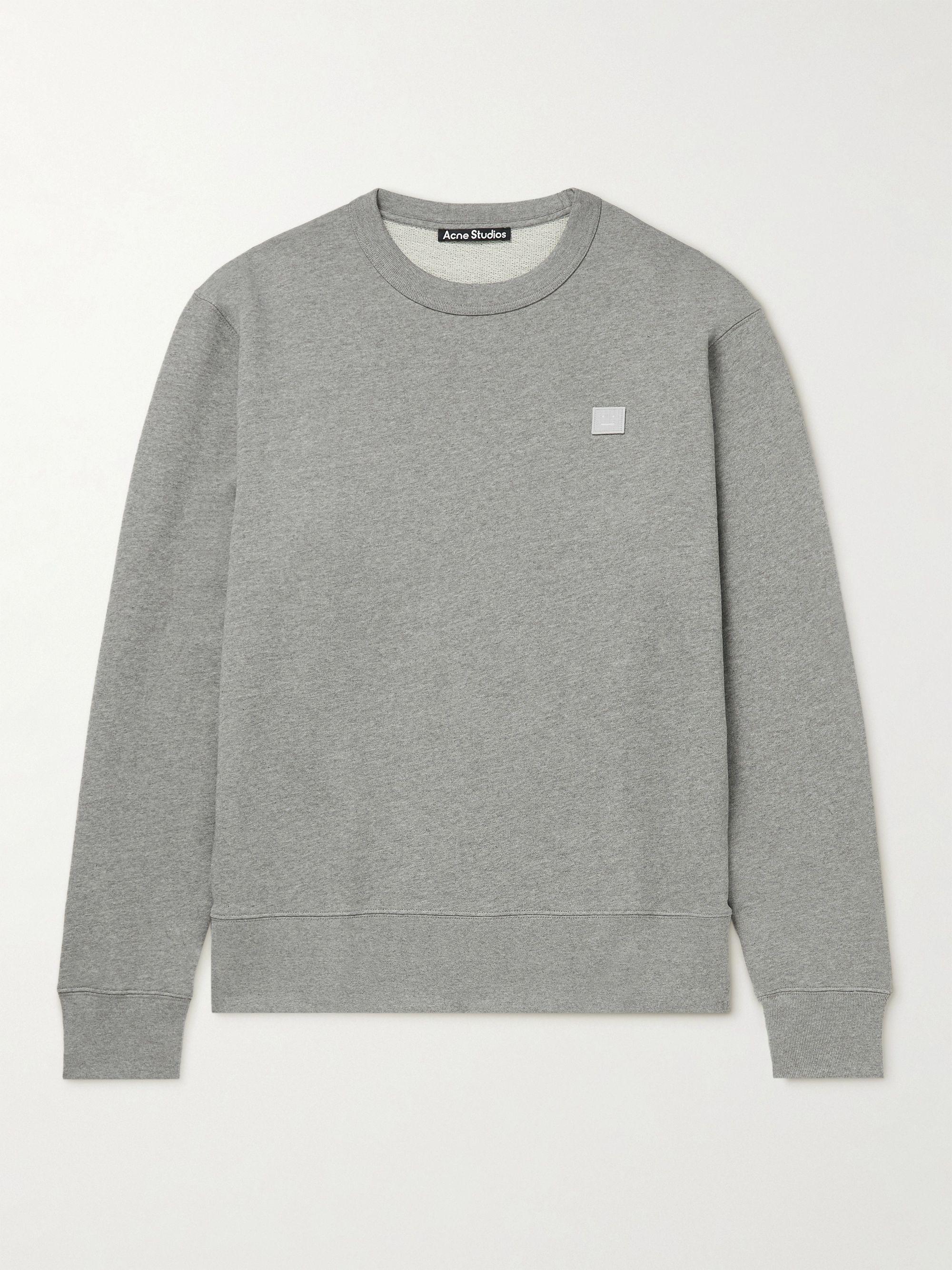아크네 스튜디오 '페이스' 로고 맨투맨 Acne Studios Fairview Logo-Appliqued Organic Cotton-Jersey Sweatshirt,Gray