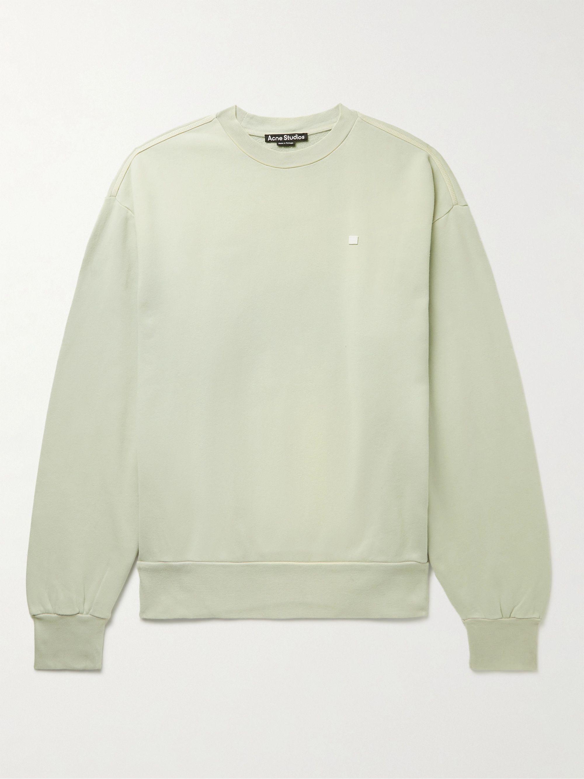 아크네 스튜디오 '페이스' 로고 맨투맨 Acne Studios Fiah Logo-Appliqued Cotton-Jersey Sweatshirt,Gray green