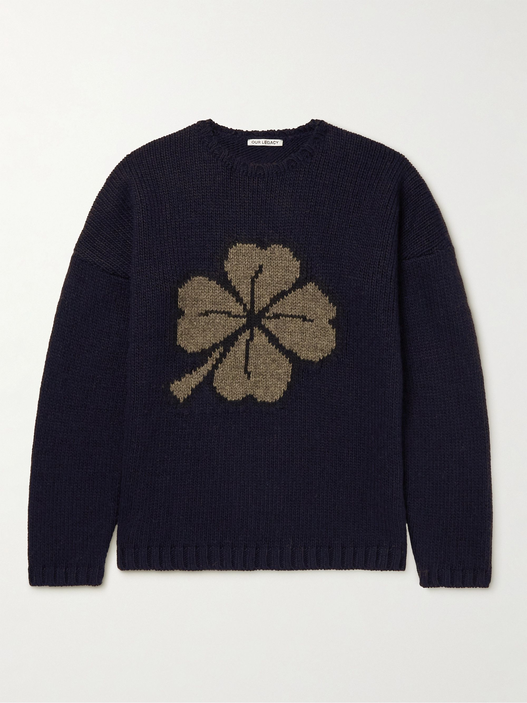 아워 레거시 스웨터 Our Legacy Popover Intarsia-Knit Sweater,Black